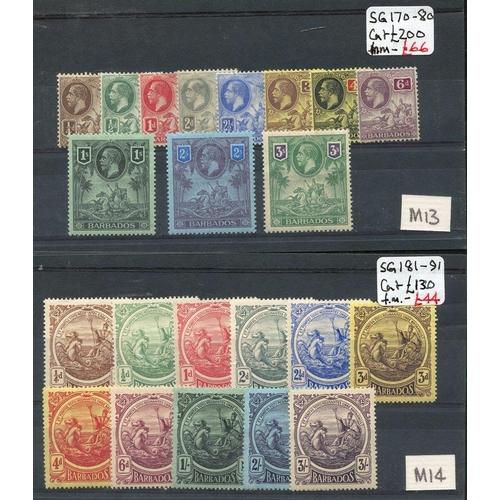 482 - 1912 MCCA set & 1916-19 MCCA set M SG.170/80 & 181/191. (22) Cat. £365...