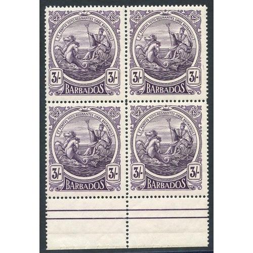 484 - 1916-19 3s deep violet, lower marginal block of four UM, SG.191. (4) Cat. £300+...