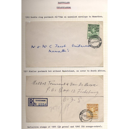 492 - Album of covers from KGVI to 1950's with provisional frankings & later fine range of village cancels...