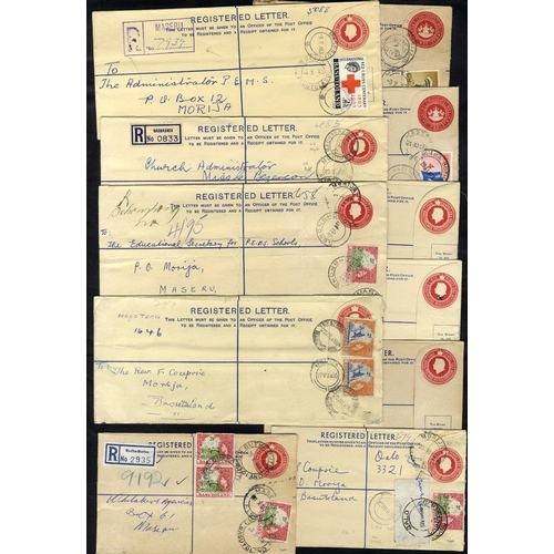 493 - QEII reg postal stationery envelopes unused (7) & used (7) uprated with adhesives, also LESOTHO (8) ...