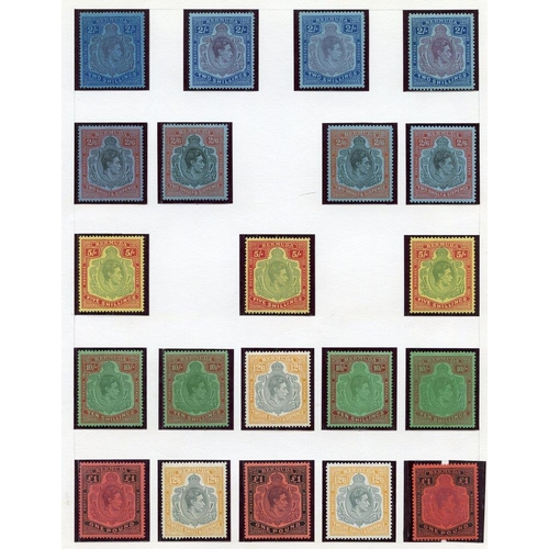 506 - Collection on leaves M with 1883 1s, 2½d (2), 2d (2) etc. 1902 Docks, 1906 to both 2½d, 1910-25 to 1...