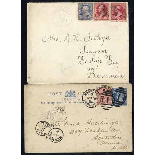 507 - 1885-91 ½d blue postal stationery card uprated 1d rose to USA with N.Y/PAID all Opera Glass cancel, ...