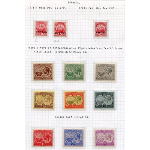 508 - 1918 War Tax 1d (3), 1920 & 1921 Tercentenary sets, fine M, SG.56/76. (21) Cat. £215...