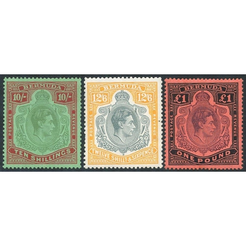 516 - 1938-53 10s, 12/6d & £1, fine M - 12/6d has a couple of blunt perfs. (3)...