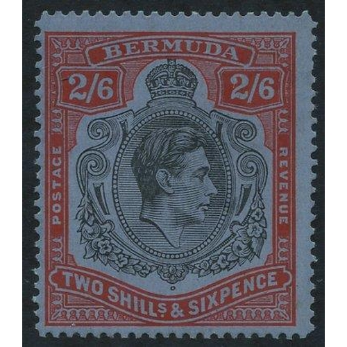 517 - 1938-53 Perf 14.2 Line 2/6d black & red on grey-blue, centred to lower left, fine M, SG.117a, Cat. £...