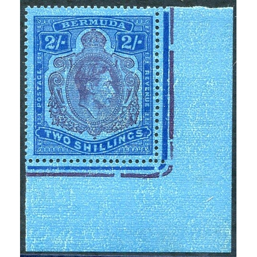 518 - 1942 2s purple & blue/deep blue, lower right corner marginal M example showing variety 'broken lower...