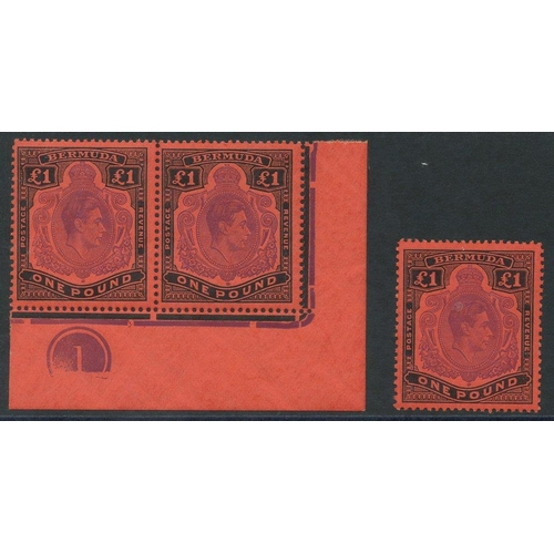 519 - 1943 £1 deep reddish purple & black/pale red, UM corner marginal Plate pair, SG.121d, also a UM sing...