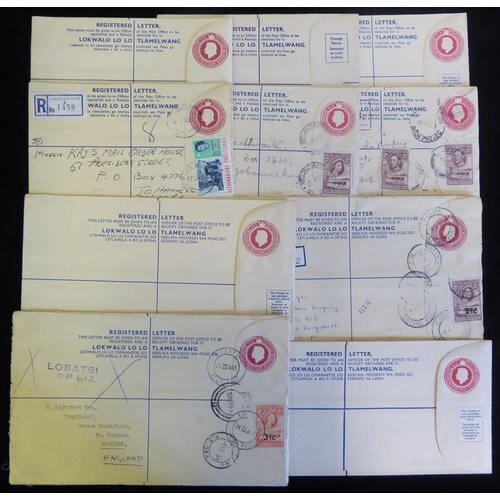 526 - 20thC KGVI 4d reg envelope with 2d (2) added & Maun cancels, QEII reg 6d & 5c envelopes with added v...