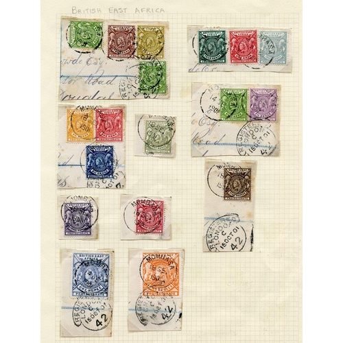 535 - 1896-1901 CCA set excl. 1r & 2r (16 stamps used on 8 pieces), tied Mombasa c.d.s's, from SG.65/79 pl...
