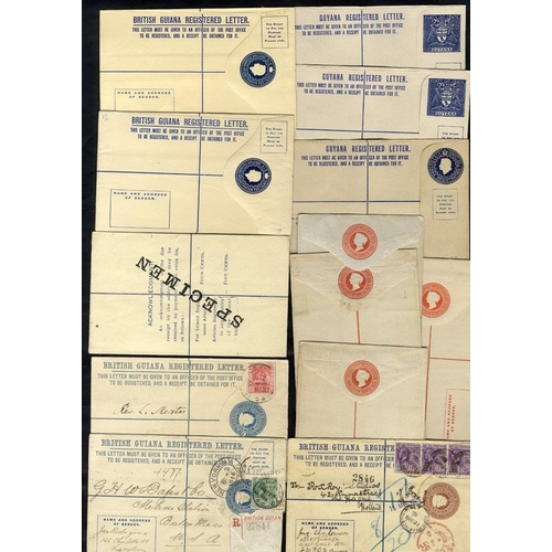 538 - 1882-1972 postal stationery range of reg envelopes incl. three used 1909 to Montserrat, 1914 to Bost...