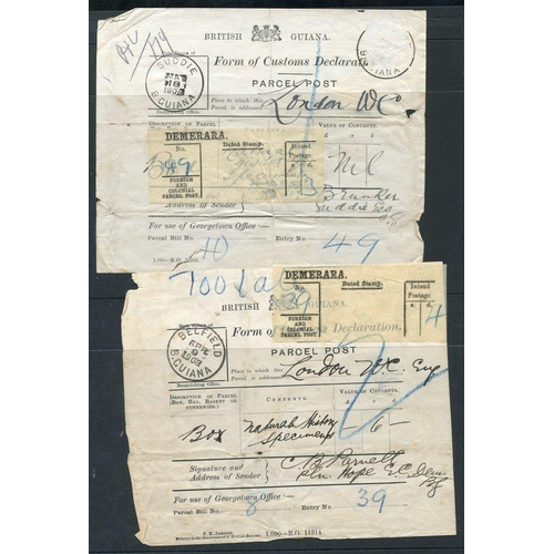 540 - 1903-04 Parcel Post Customs Declaration labels, both for natural history specimens sent to London, w...