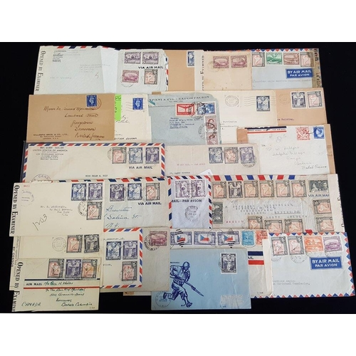 543 - WWII group of incoming & outgoing censored covers, variety of marks & labels, many destinations, mul...