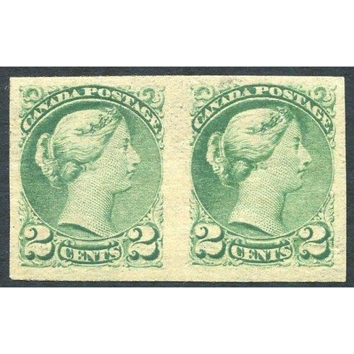 578 - 1870-90 2c grass green, fine M imperf pair (gum toned), SG.78a. Cat. £700...