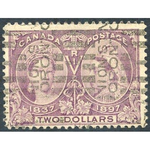 580 - 1897 Jubilee $2 deep violet (colour slightly faded), FU with Toronto roller cancel, SG.137. (1) Cat....