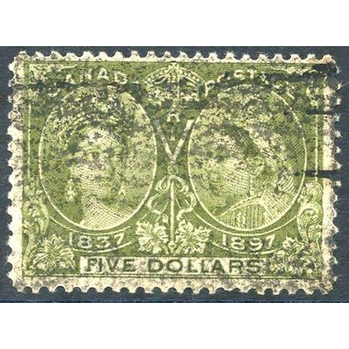 581 - 1897 Jubilee $5 olive green, Av U example, SG.140, Cat. £700....