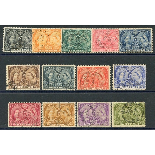 582 - 1897 Jubilee set, VFU (excl. 8c, 10c & $2) - the $3 & $4 have small thins, from SG.121/140 (13) Cat....