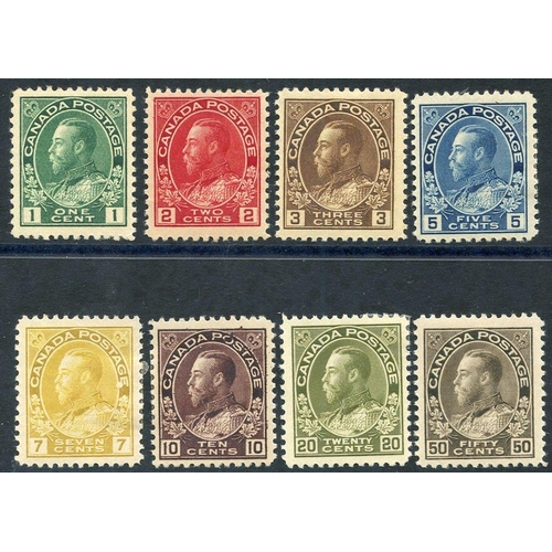 584 - 1911-22 KGV Defin set M, SG.196/215. (8) Cat. £275...