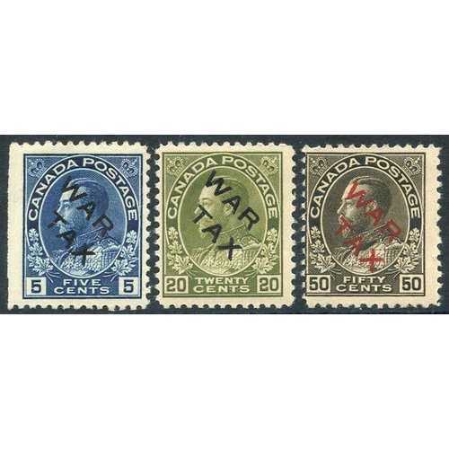 585 - 1915 War Tax set M (5c straight edge at left side), SG.225/7. (3) Cat. £300...