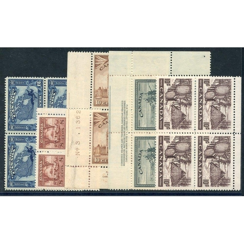 586 - 1927 Confederation 12c blue (SG.270), 1942 War Effort 8c & 10c (SG.384/3), 1946 Peace 20c (SG.404) &...