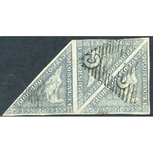 592 - 1855-63 6d slate lilac strip of three clear to good margins all round fine triangular cancels, one s...