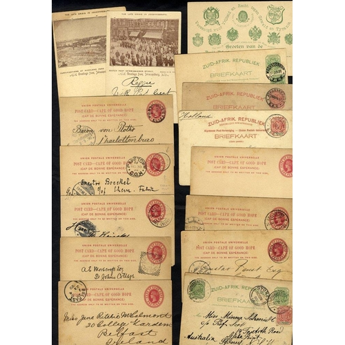 595 - 1897-1900 range of stationery 1d cards to Germany, cancelled G.P.O Cape Town c.d.s & Magdeburg recei...
