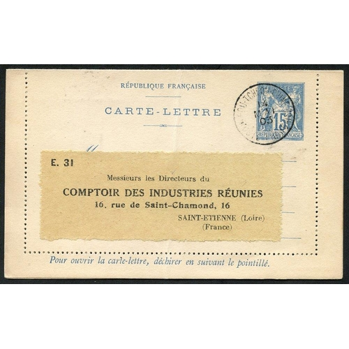 618 - FRENCH CHINA 1903 France Type Sage postal stationery letter card 15c blue, cancelled by 'Fou-Tcheou-...