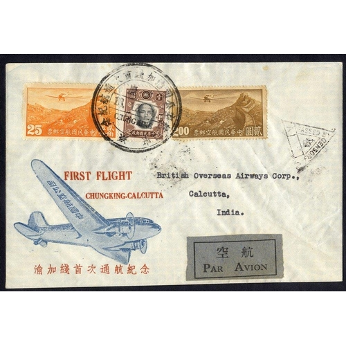 625 - 1941 Dec 18 CNAC first flight Chungking - Calcutta special illustrated cover to BOA with censor cach...