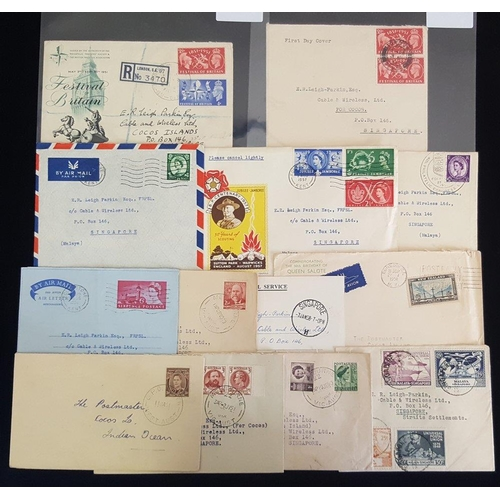629 - 1940-50's covers & card from Malaya, Australia & GB, all incoming, addressed E. R. Leigh-Parkin, Cab...