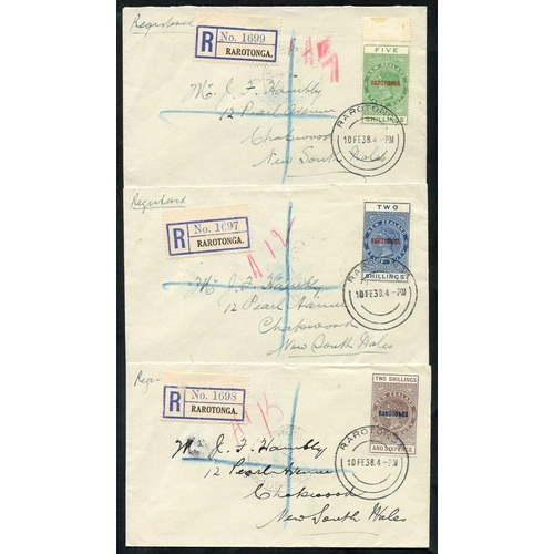 634 - 1938 trio of reg covers with 1921-23 NZ postal fiscal vals 2s, 2/6d & 5s o/p Rarotonga with reg. lab...