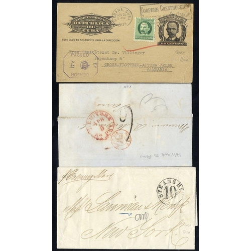 635 - 1862-64 pair of stampless E's to USA with STEAMSHIP/10 h/stamp, 1856 entire to France with NY FAC, W...