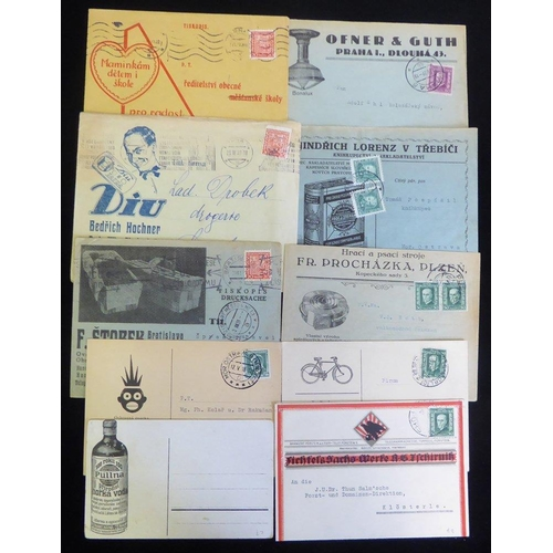 658 - 1930's advertising covers & cards with a wide variety of subjects, cancellations & frankings. Inspec...