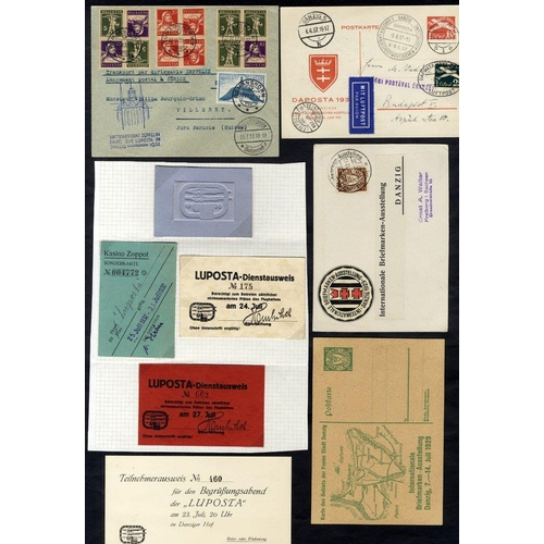 660 - 1929 Stamp Exhibition stationery + card bearing vignette, piece bearing stamps, tied exhibition pmks...