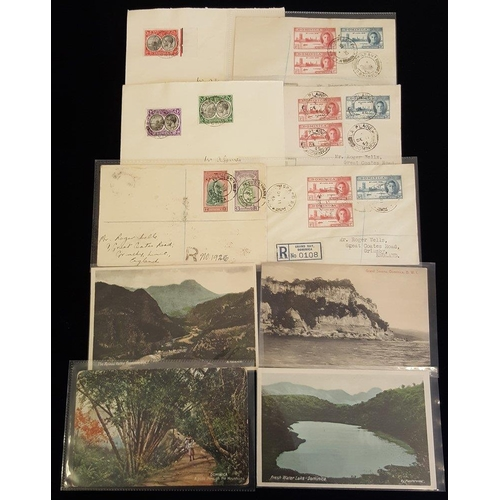676 - 1930-40's pair of covers Roseau to London with KGV ½d + 1d or 1½d, tied Roseau/Dominica c.d.s. Four ...
