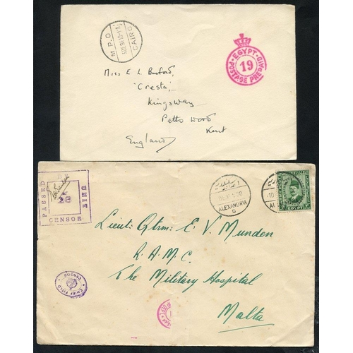 681 - 1930's BRITISH FORCES various covers with Crown postage prepaid marks & postal seals affixed to reve...