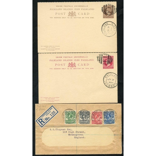 686 - FALKLAND ISLANDS & ANTARCTICA 1894 - later with QV 1d & 1½d unaddressed clean reply cards with barre...