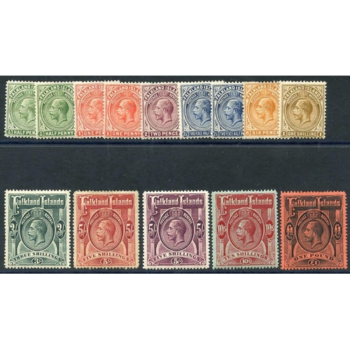 690 - 1912-20 MCCA set, fresh M (5s rose red Av M) extra ½d, 1d & 2½d vals, SG.60/9 (14) Cat. £1000+...