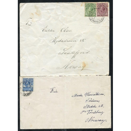 691 - 20thC pair South Georgia, Grytviken Whaling Station covers addressed Sandefiord or Tonsberg, Norway,...