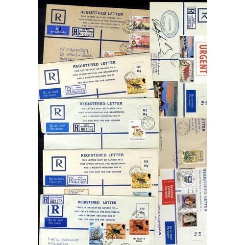 704 - 1972-92 range of 45 registered postal stationery envelopes, 18 are postally used. Although modern, s...