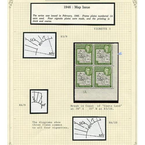 707 - 1944-46 M or UM collection in a spring back album incl. 1944 optd sets UM (4), 1946 Thick Maps set i...
