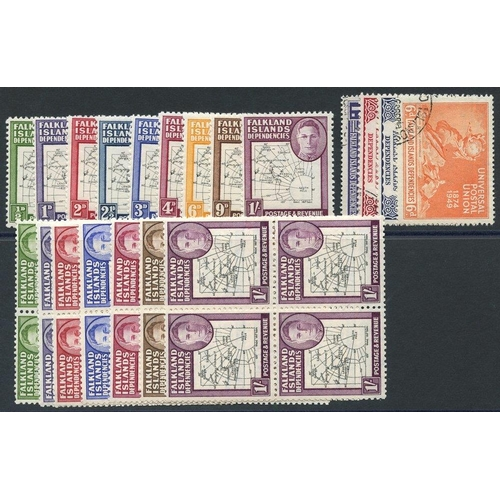 709 - 1946 Thick Maps set (excl. 6d) each UM block of four with variety 'gap in 80th parallel,' Thick Maps...