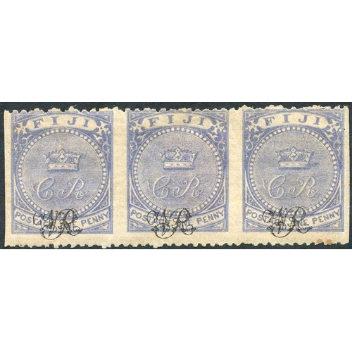 712 - 1876-77 1d blue on laid paper, horizontal strip of three IMPERFORATE VERTICALLY - M with full o.g. (...