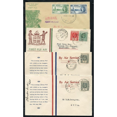 716 - 1930-47 first flight covers (4) 1930 Fiji Airlines official cover Lautoka - Suva, another but pilot ...