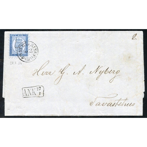 719 - 1864 cover to Tavastehus franked 5 Kopek blue Mi. 3A tied fine Helsingfors single ring date stamp fo...