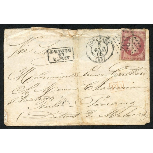727 - 1865 env addressed to Poulo - Penang, Malacca bearing French Napoleon 80c rose (Yv17b), tied '532' i...