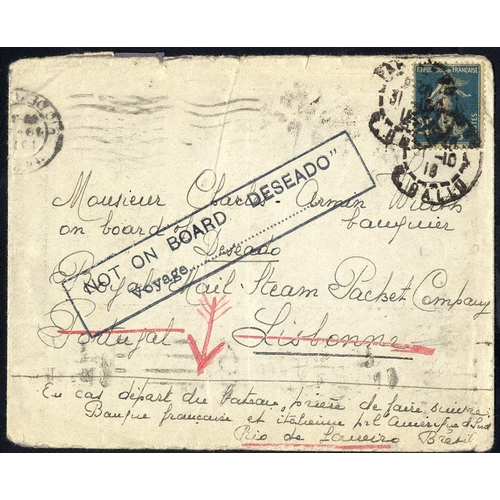 729 - 1918 env franked 25c 'Sower' cancelled Paris, to a banker on board a ship due at Lisbon, bears large...