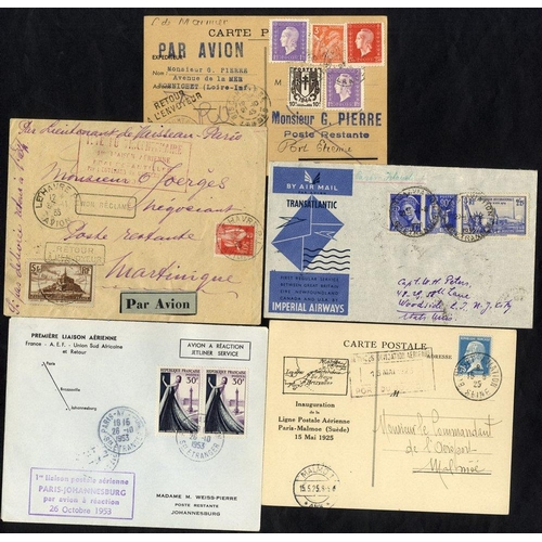 731 - 1925-53 first flight covers (5) 1925 Chailloux flight Paris - Malmo special card, 1935 Bonnot Bordea...
