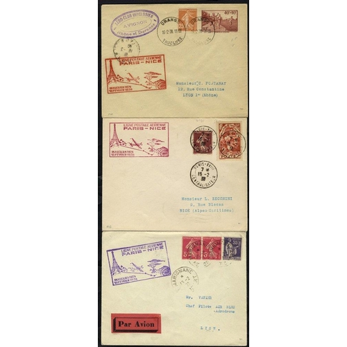 733 - 1938 first flight covers (4) comprising Air France/Air Bleu Paris/Nice with cachet, another on a com...