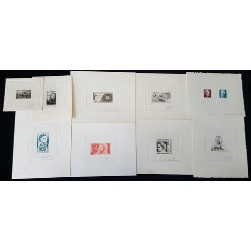 734 - France/Colonies/Monaco Proofs collection on leaves in protectors housed in a ring binder commencing ...