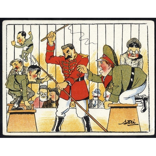 735 - WWII propaganda card depicting Stalin as lion tamer, taming Hitler & other Nazi leaders....