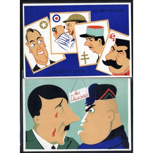 737 - WWII PROPAGANDA CARDS (2) by Lenoir of Cannes entitled 'Les Desaxes' and the other depicting the fou...